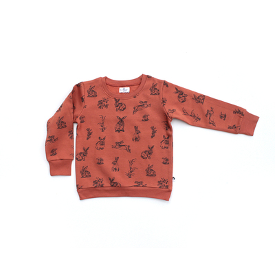 Burrowers fleece jumper - Rust with dark grey