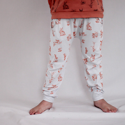 Burrowers (drop crotch) pants - Grey with rust print