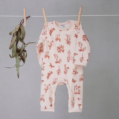 Meadow long romper - Blush with rust