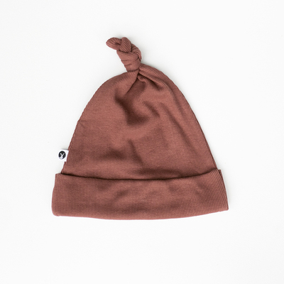 Rib Top Knot Hat [colour: Clay] [size: NB]