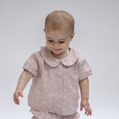 Dusty Rose bow baby blouse