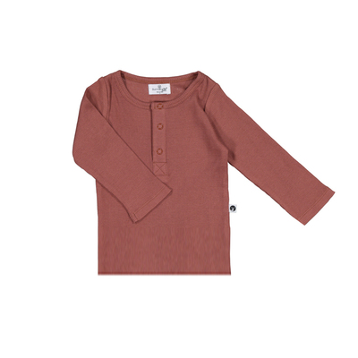 Henley rib long sleeve top - Clay