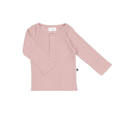Henley rib long sleeve top - Dusty rose